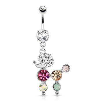Poodle with Multi Colored Gems Dangle Surgical Steel Navel Ring