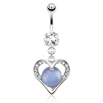 Hollowed Heart with Paved Gems Encasing Blue Cats Eye Gemstone Dangle Surgical Steel Navel Ring