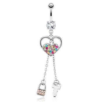 Heart with Multi Color Paved Gems And Chain Lock And Key Dangle Surgical Steel Navel Ring