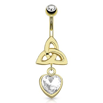 Celtic Knot with Single Clear Gem Heart Dangle Gold Tone Navel Ring