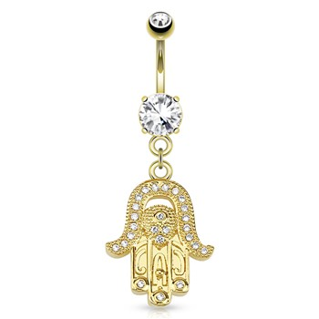 Hamsa Gem Paved Dangle Gold Tone Navel Ring