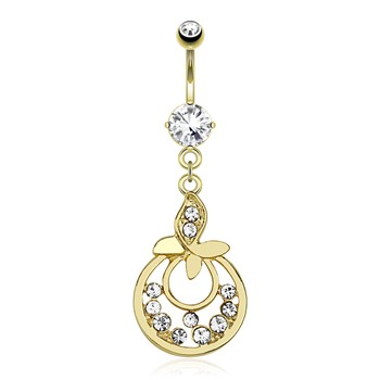 Leaf with Gems And Attached Hoops Between with Multiple CZ Dangle Gold Tone Navel Ring