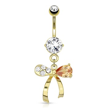 Ribbon with Clear And Topaz-Colored Gems Dangle Gold Tone Navel Ring