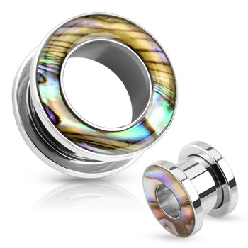 Pair Of Mother Of Pearl Rimmed Surgical Steel Screw Fit Tunnels