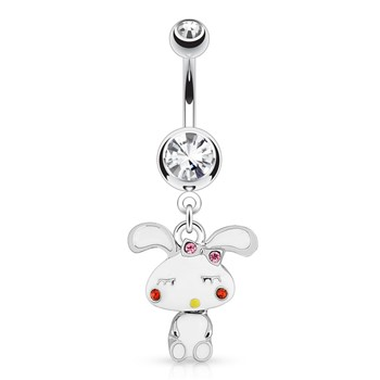 Cute Bunny with Mini-Dangle Body And Gemmed Cheeks Surgical Steel Navel Ring