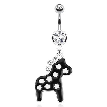 Horse Decorated with White Stars And Gemmed Mane Surgical Steel Navel Ring