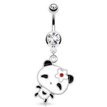 Panda with Large Head And Flower Hair Pin Dangle Surgical Steel Navel Ring