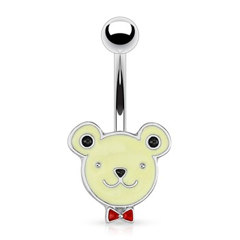 Bear Face with Red Bow Tie Surgical Steel Navel Ring
