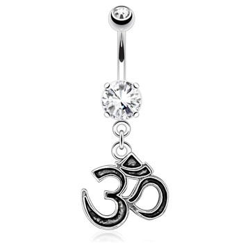 Om Casting Styled And Outlined Dangle Surgical Steel Navel Ring
