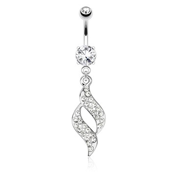 Swirl Design with Paved Gems Dangle Surgical Steel Navel Ring