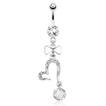 Open Heart with Large Gem And White Enamel Bow Tie Dangle Surgical Steel Navel Ring