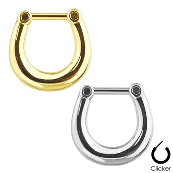 Plain Style Surgical Steel Septum Clicker Ring - 16G