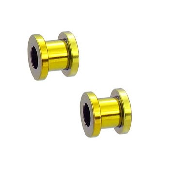 Pair Of Titanium Anodized Tunnels with Threaded Back - Yellow