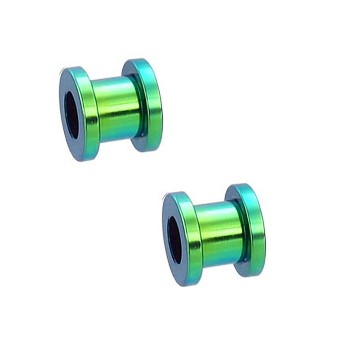 Pair Of Titanium Anodized Tunnels with Threaded Back - Green
