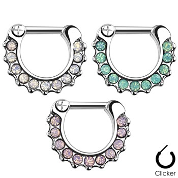 Opalites Paved Surgical Steel Septum Clicker Ring