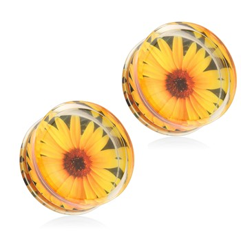 Pair Of Sunflower Print Encased Clear Acrylic Saddle Fit Plugs
