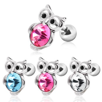 Surgical Steel Cute Owl with Gemmed Belly Cartilage Earring