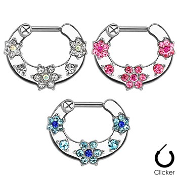 Flower Paved Gems Surgical Steel Septum Clicker