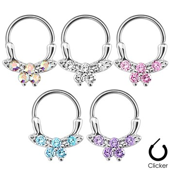 Gemmed Butterfly Surgical Steel Septum Clicker