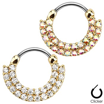 Double Line Round Paved Gems Gold Toned Surgical Steel Septum Clicker