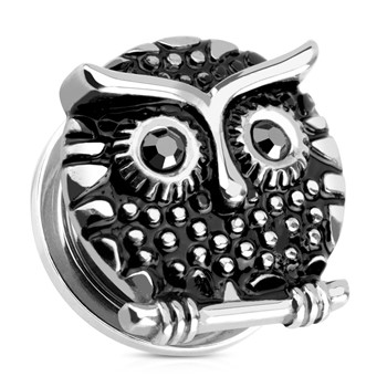 Pair Of Owl with Gemmed Black Eyes Surgical Steel Screw Fit Plugs