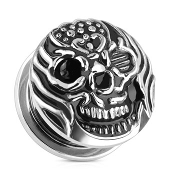 Pair Of Fire Skull Surgical Steel Screw Fit Plugs