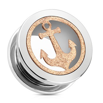 Pair Of Rose Gold Glittery Anchor with Surgical Steel Screw Fit Tunnels