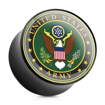 Pair Of US Military Logo Print Inlayed Black Acrylic Saddle Plugs