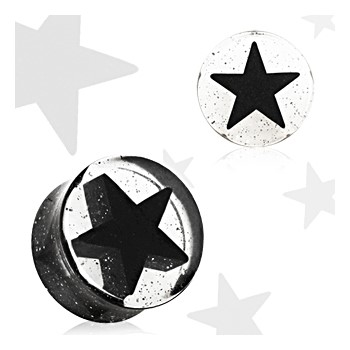 Pair Of Black  UV Acrylic 3D Star Double Flare Glitter Plugs