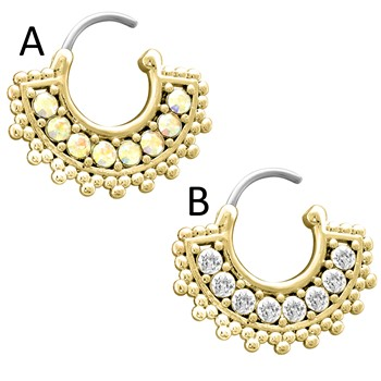 Large Paved Gem Fan Gold Toned Surgical Steel Septum Clicker