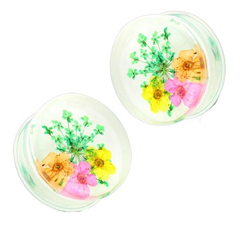 Pair Of Green Dried Flower Clear Acrylic Saddle Fit Plugs
