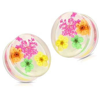Pair Of Pink Dried Flower Clear Acrylic Saddle Fit Plugs