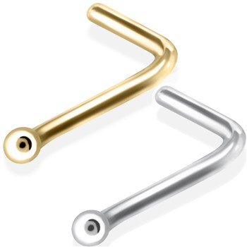 14K Gold Nose Pin (L-Shape) with Ball Tip