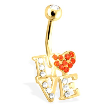 LOVE Logo with Paved Czs Gold Toned Surgical Steel Navel Ring