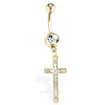 Gold Toned Navel Ring, Dangle Cross with Clear Gems, 14 Ga