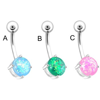 Beautiful Synthetic Opal Belly Ring, 14 Ga