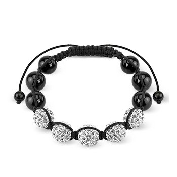 Black Crystal Clustered Bead Bracelet with Clear CZ