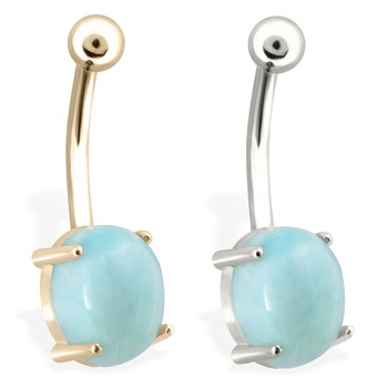 14K Gold Belly Ring with Natural Larimar
