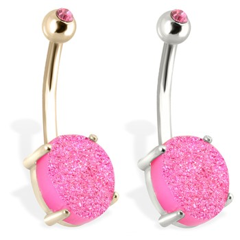 14K Gold Belly Ring with Pink Druzy And Gem Ball