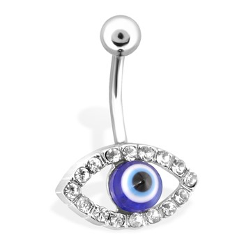 Belly Ring With Gem Paved Eye & Blue Iris