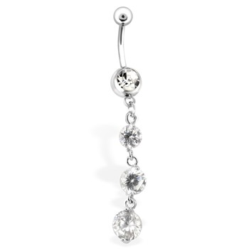 Belly Ring with 3 Clear Cascading Gems