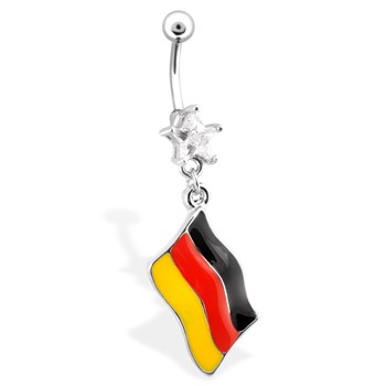 Belly Ring with Star Shaped Bottom Gem And Dangling German Flag