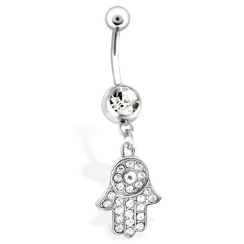 Jeweled Hand Symbol Belly Button Ring