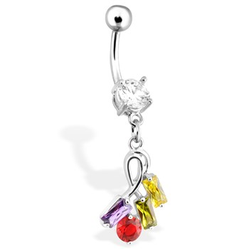 Colorful Multi-Gem Rectangular Belly Ring