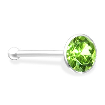 Silver Nose Bone with Peridot Gem