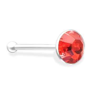 Silver Nose Bone with Red Gem