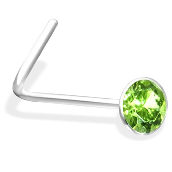 L-Shaped Nose Pin with Peridot Gem