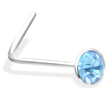 L-Shaped Nose Pin with Light Blue Gem