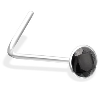 L-Shaped Nose Pin with Black  Gem