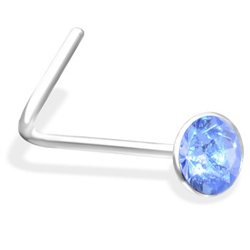 L-Shaped Nose Pin With Aquamarine  Gem